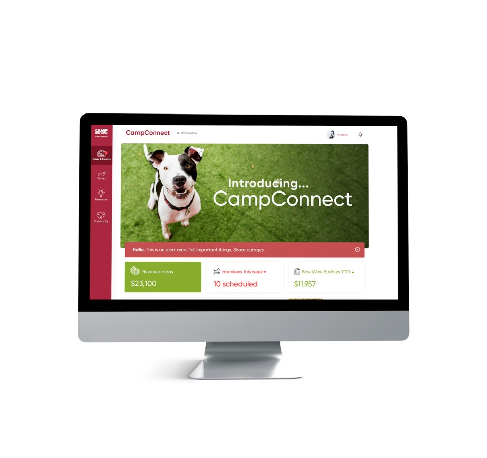 computer homepage franchise communications portal mockup