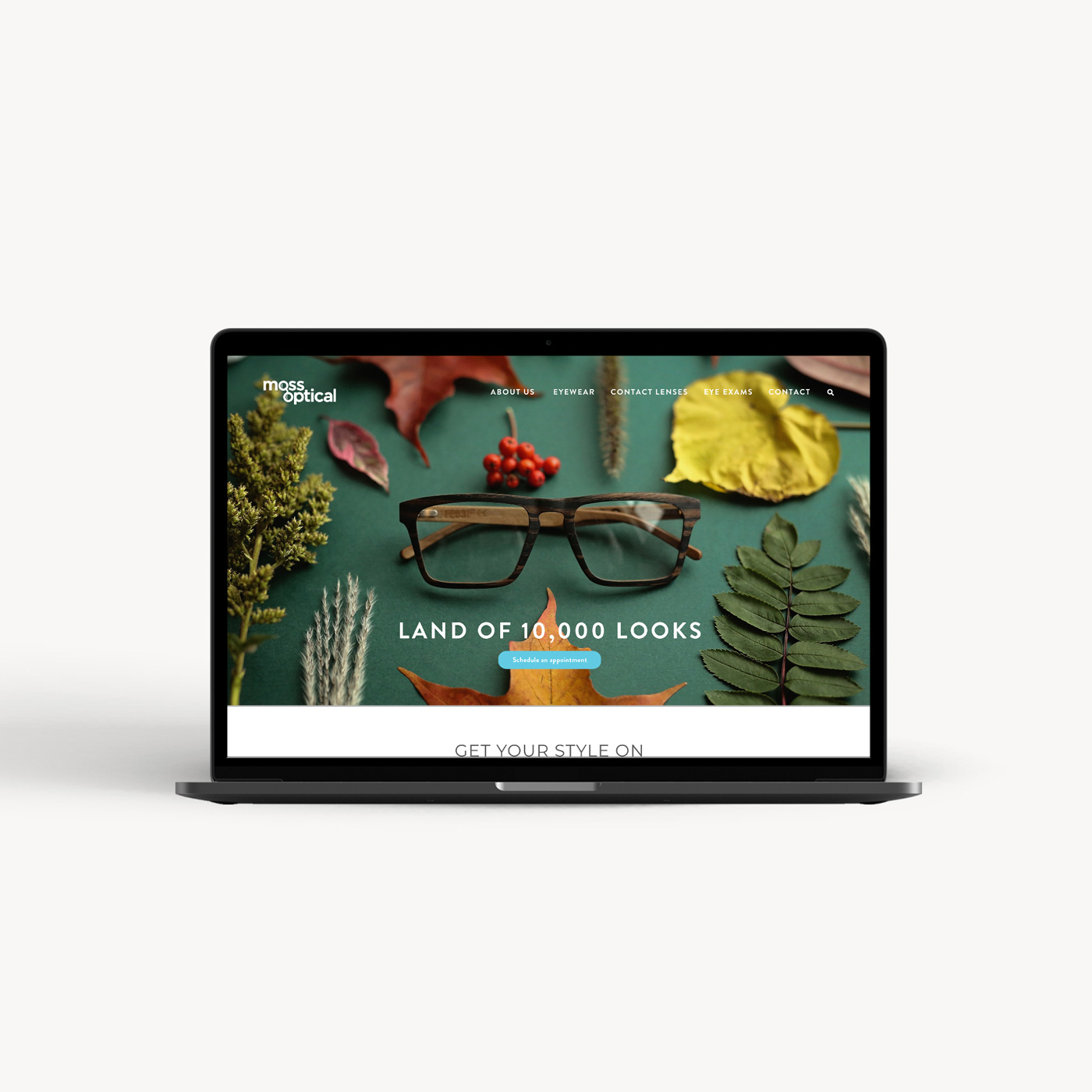 moss optical website design layout homepage
