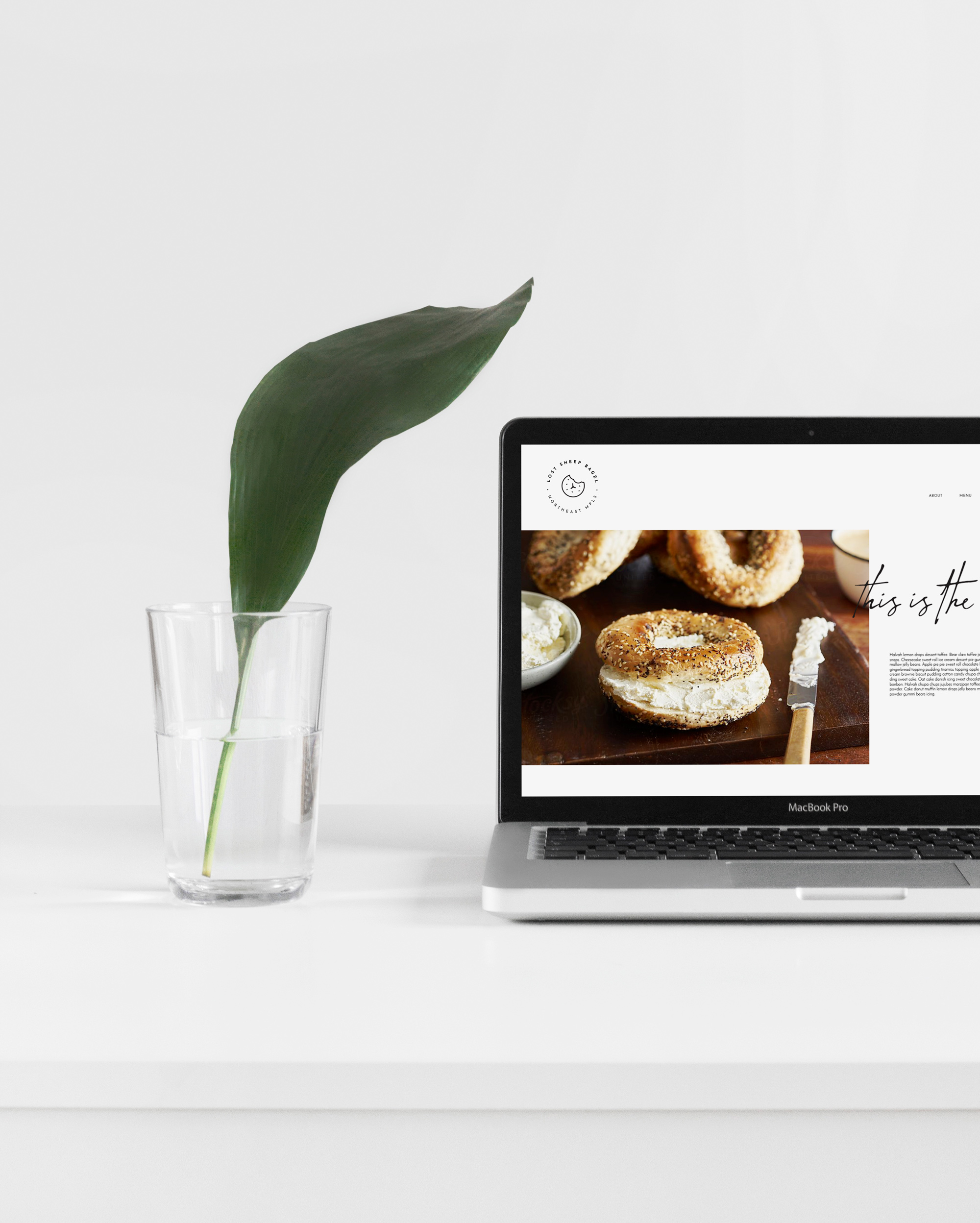 website mockup bagel coffee shop