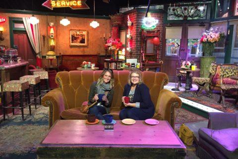 two women sitting on Friends sofa