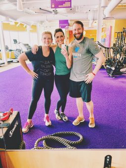 three fitness people in gym